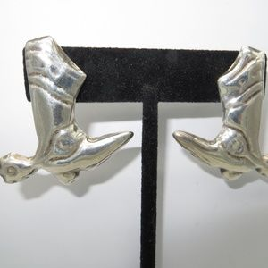 Large Sterling Cowboy Boots with Spurs Earrings